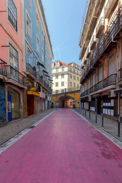 Lisbon. Pink street. stock photo