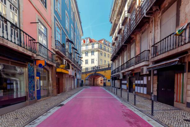 Lisbon. Pink street stock photo