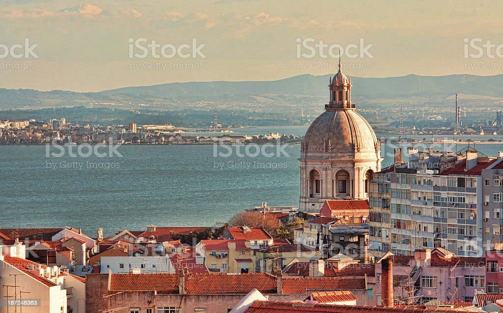 Lisbon Portugal at sunrise stock photo