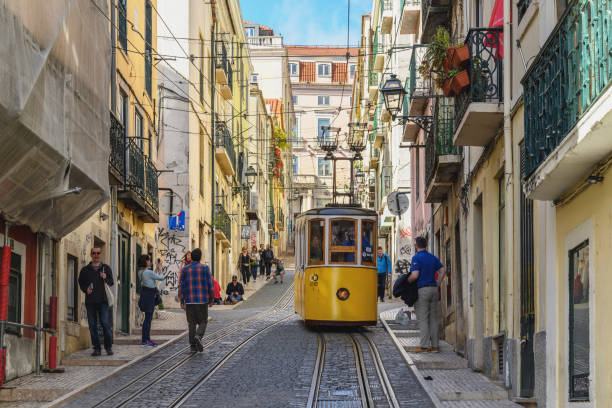 Lisbon, Portugal - April 10, 2019: Lisbon Portugal city skyline at Chiado district and Tram