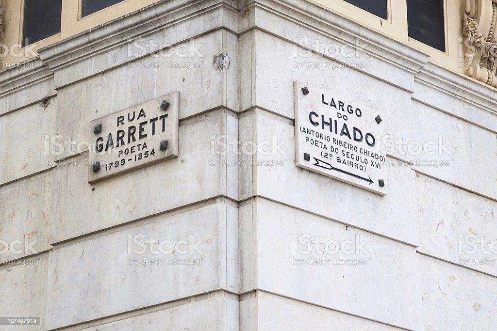 Lisbon, Portugal double Wall Street name text stock photo