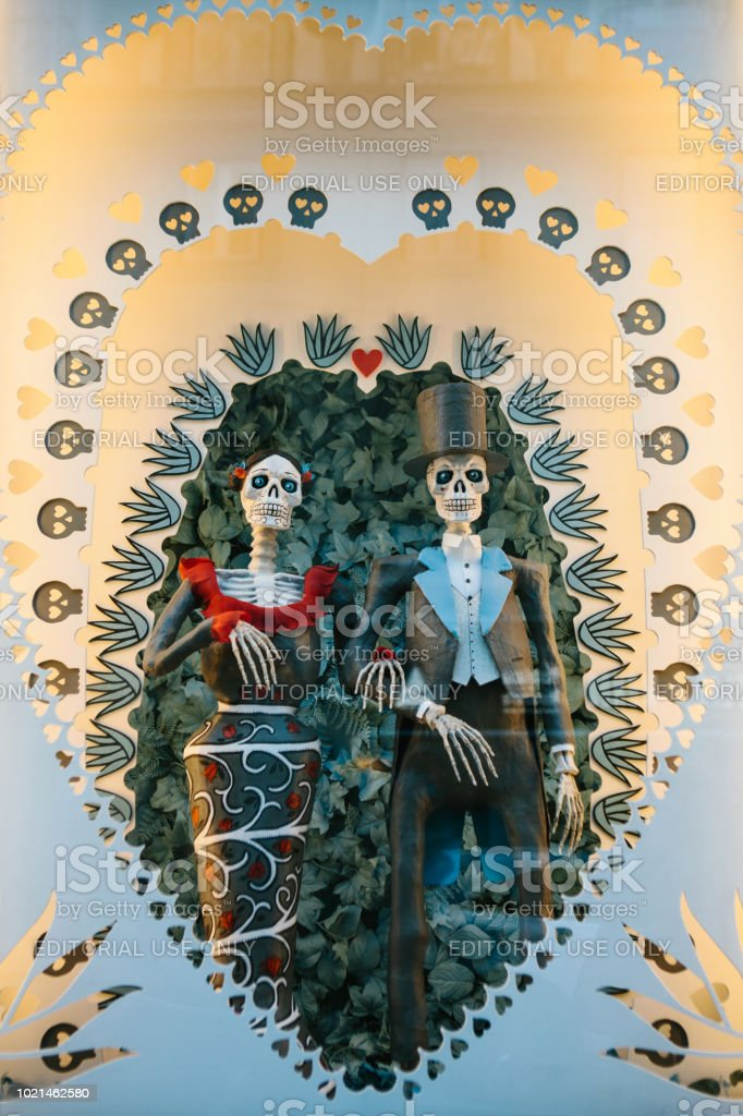 Lisbon, Portugal may 01, 2018: toy skeletons or Coco or a symbol of love of death. Wedding shop and Souvenirs symbolizing love and relationship or marriage. Remember me or day of the dead stock photo