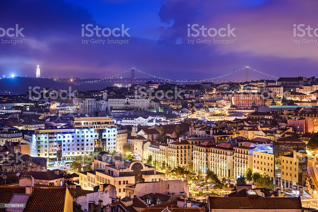 Lisbon, Portugal Skyline at Night stock photo