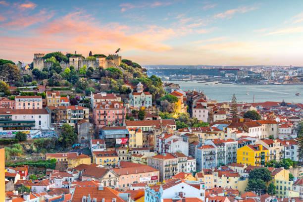 lisbon, portugal skyline - lisboa imagens e fotografias de stock