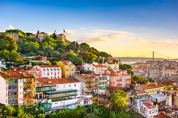 lisbon, portugal skyline - portugal stock photos and pictures