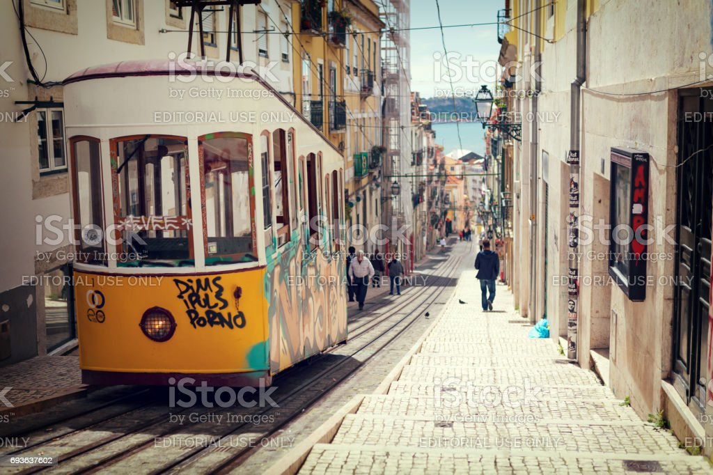 Lisbon, Portugal, 2015 04 17 - yellow tram - elevador da Bica standing on top of the rails