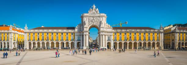 Lissabon Praca Comercio Rua Augusta Arch Wahrzeichen Panorama Portugal – Foto