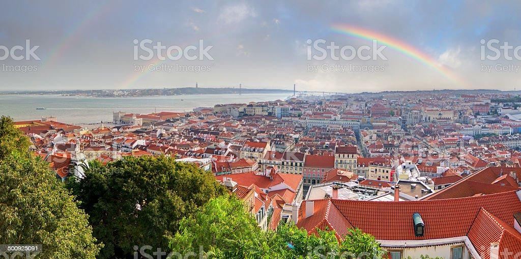 Lisbon rainbow stock photo