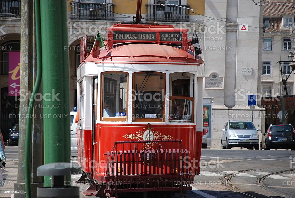 Lisbon red tram royalty-free stock photo