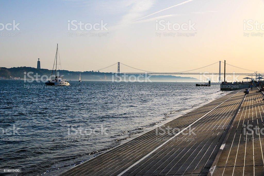 Lisbon riverside stock photo