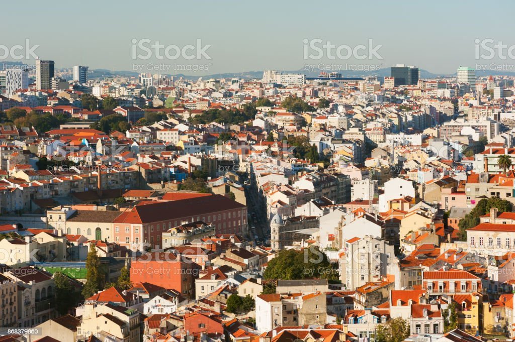 Lisbon roofs aerial view - Portugal stock photo