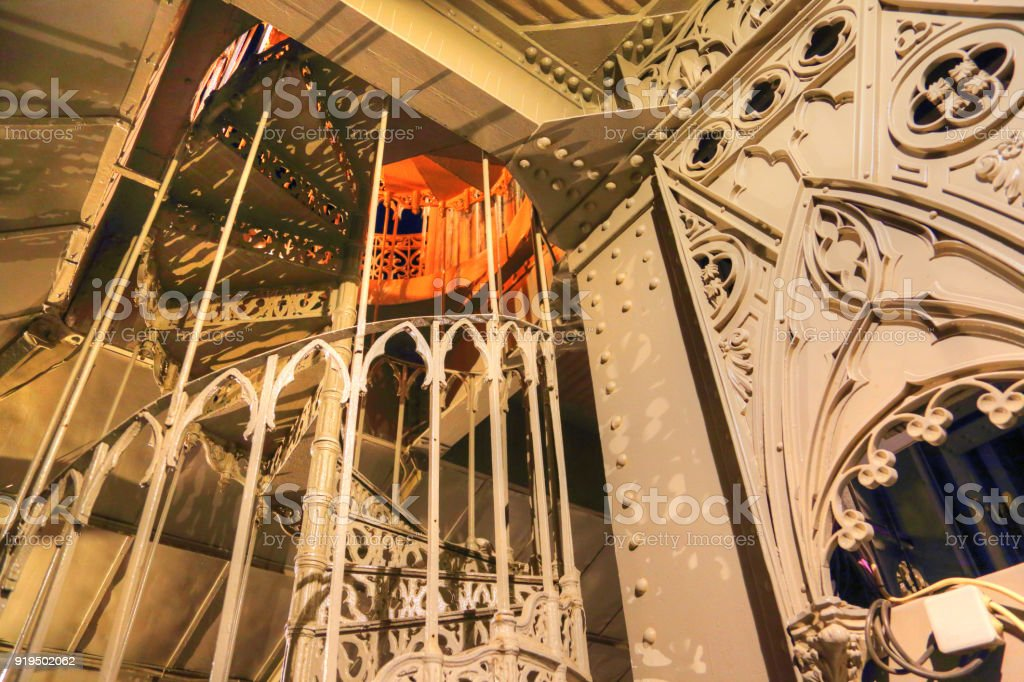 Lisbon, Santa Justa Elevator at night stock photo