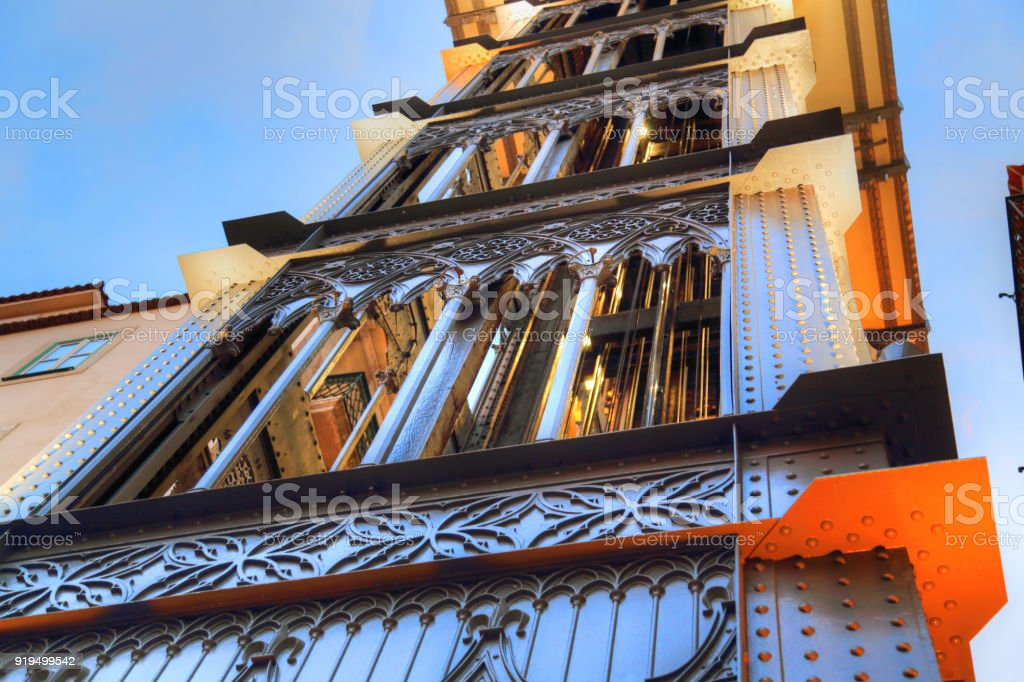 Lisbon, Santa Justa Elevator at sunset stock photo