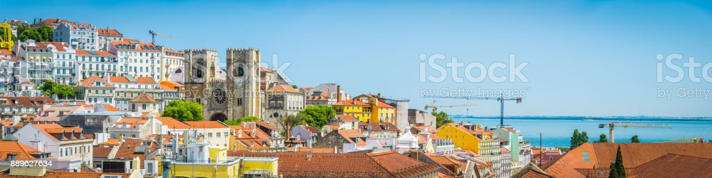 Lisbon Se Cathedral and colourful Alfama rooftops cityscape panorama Portugal stock photo