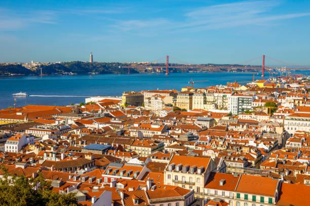 lisbon skyline portugal - cristo rei lisboa imagens e fotografias de stock