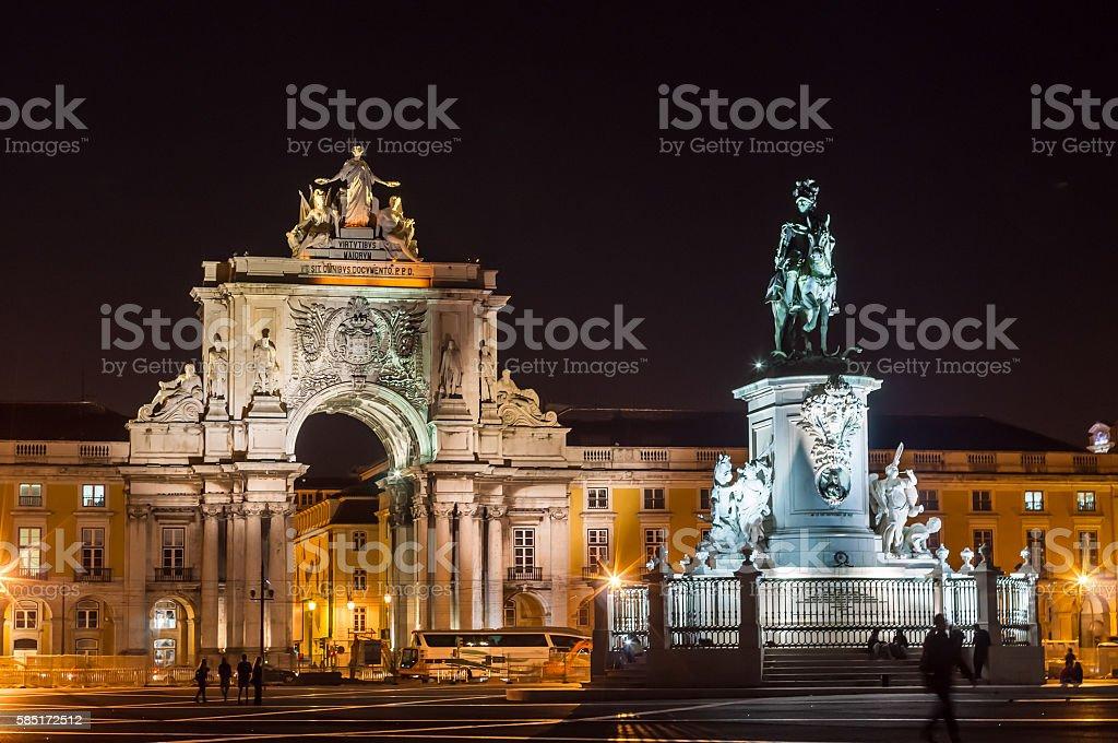 Lisbon square (Praça do Comércio) and King José I statue stock photo