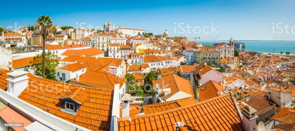 Lisbon terracotta rooftops of Alfama iconic cityscape landmark panorama Portugal stock photo