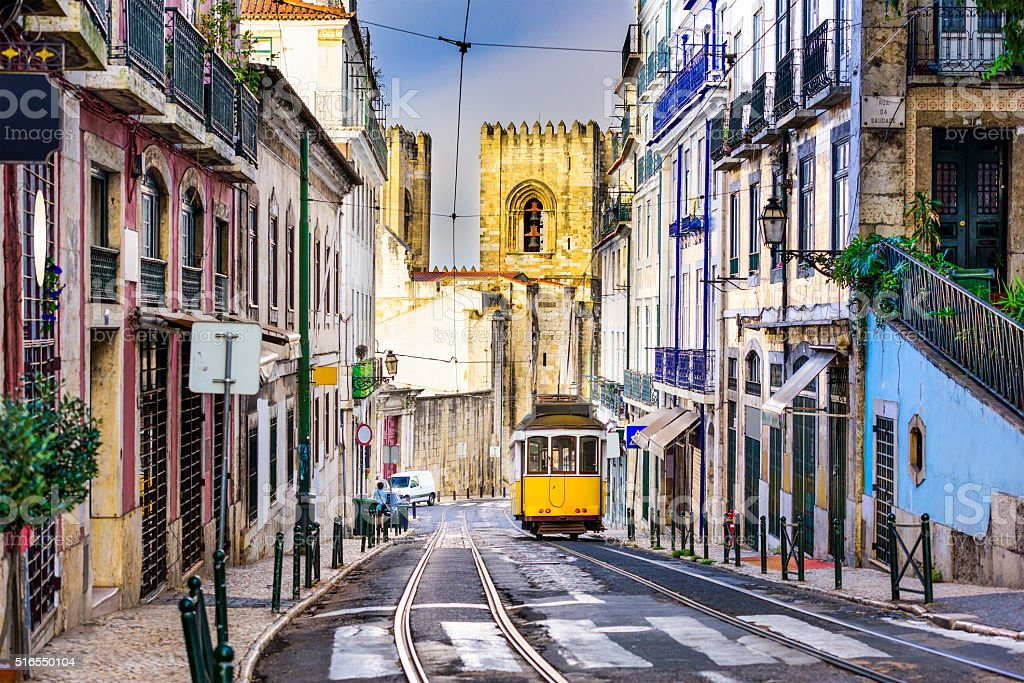 Lisbon Tram and Cityscape stock photo