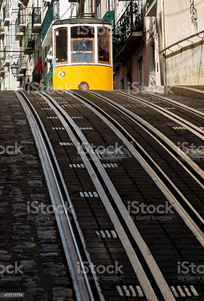 Lisbon tram in Bairro Alto district, Lisbon. stock photo