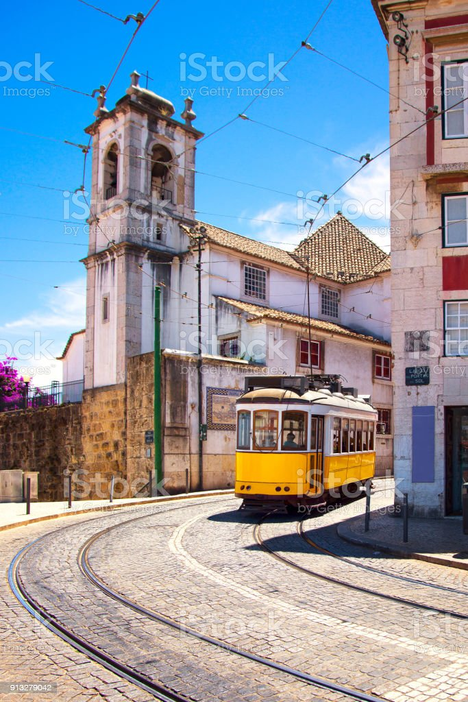 Lisbon tram on urban tramway network. Alfama district route. Portugal - fotografia de stock