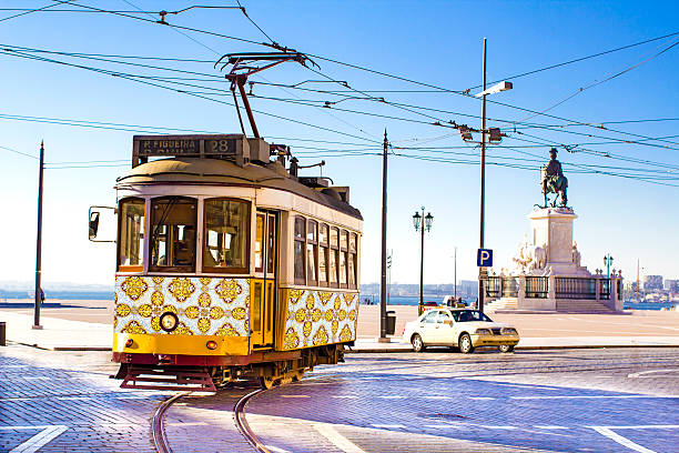 lisbon trams - portugal stock photos and pictures