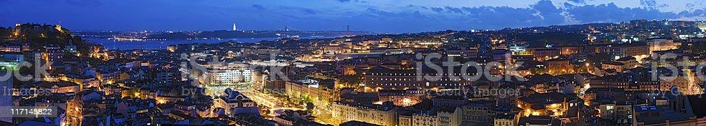 Lisbon vibrant illuminated cityscape super panorama Portugal stock photo