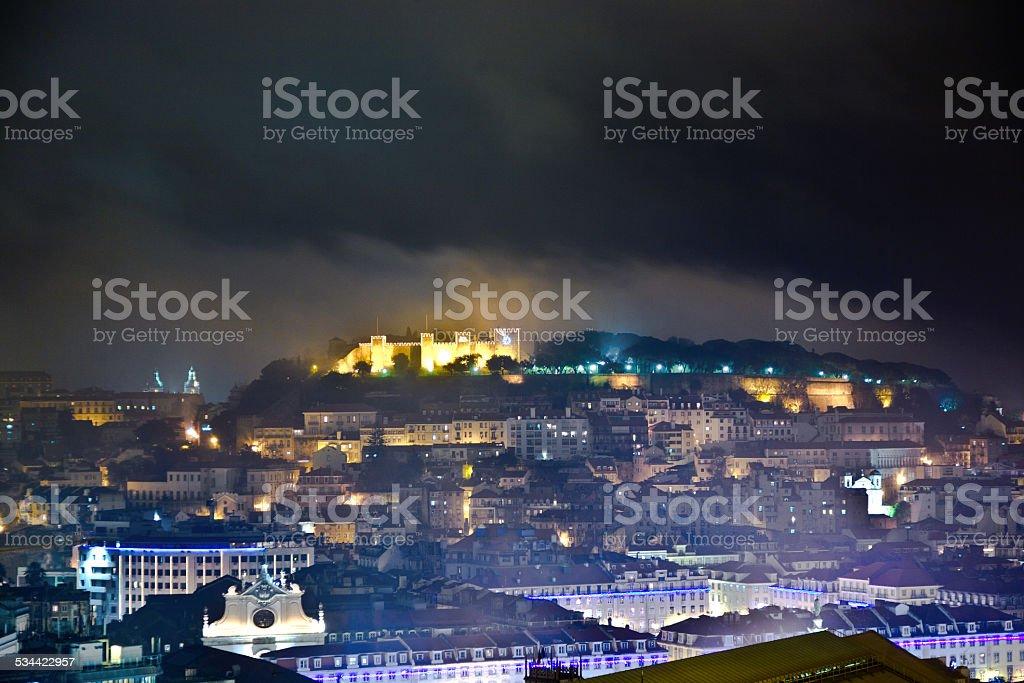 Lisbon, view to castle Castel Sao Jorge by night stock photo