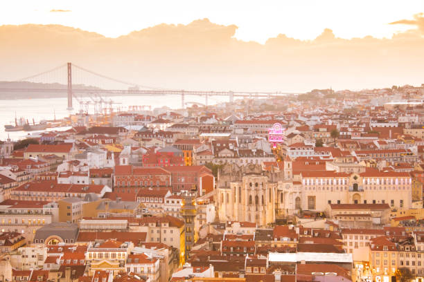 Lisbon with Tejo river and bridge of April 25th stock photo