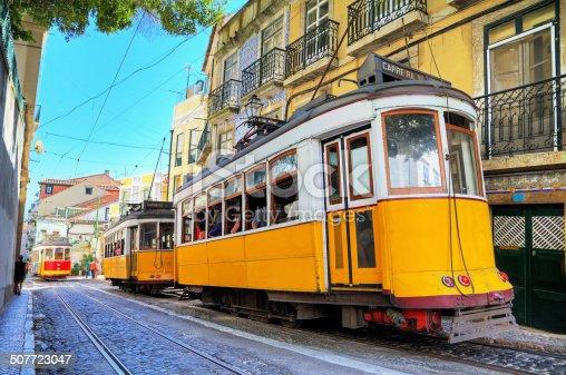 istock Lisbon yellow trams 507723047