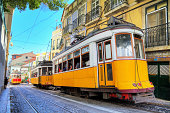 Lisbon yellow trams