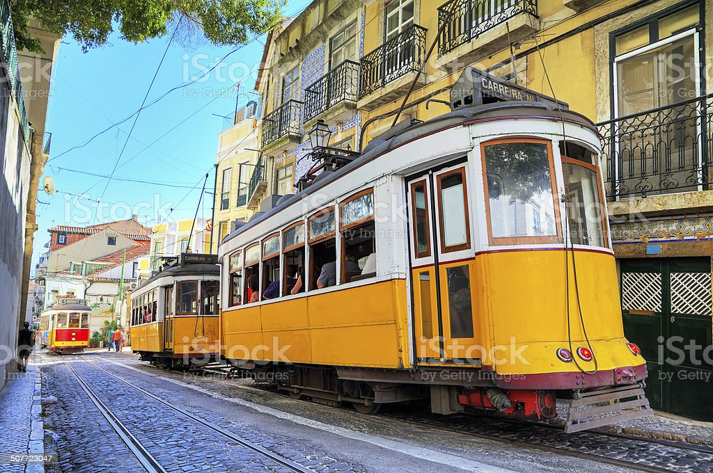 Lisbon yellow trams stock photo