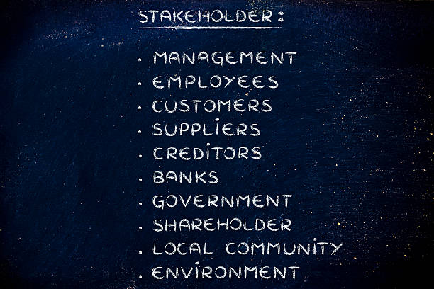 list of a company's main stakeholders stock photo