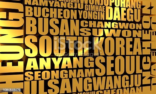 List of cities and towns of South Korea. Word cloud collage. Business and travel concept background. 3D rendering