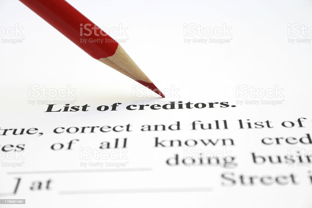 List of creditors stock photo
