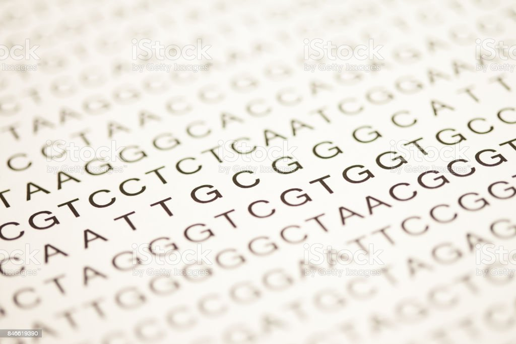 List of dna analysis in capital letters stock photo