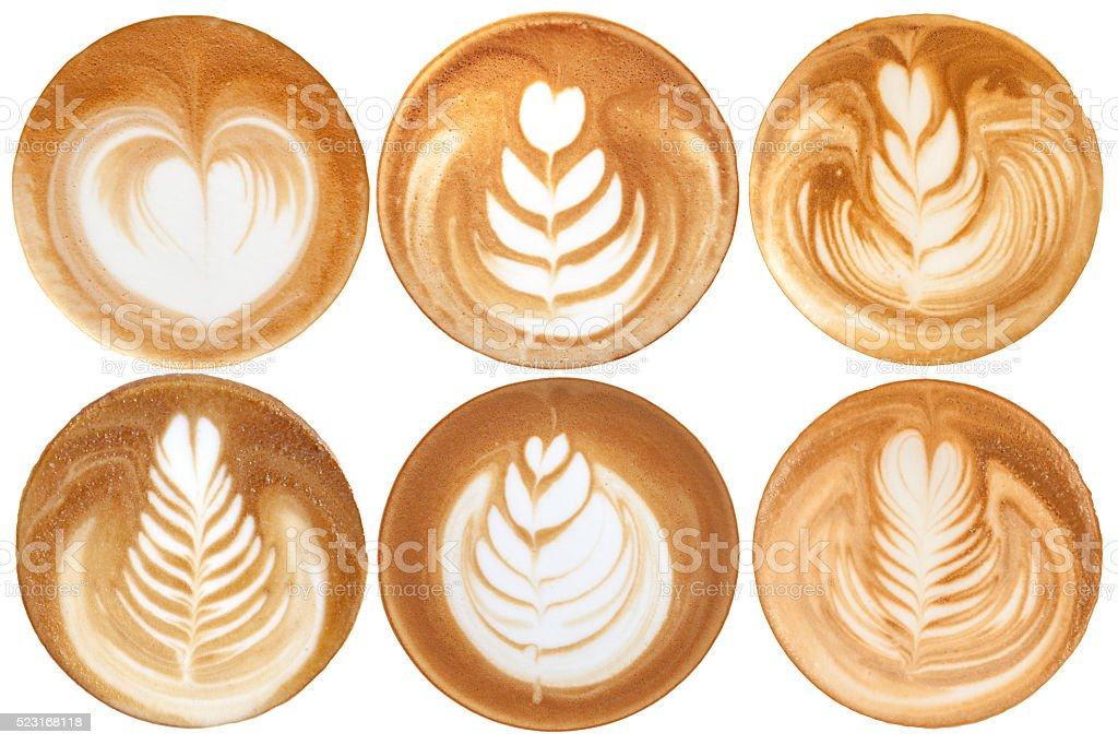 List of latte art shapes on white background isolated stock photo