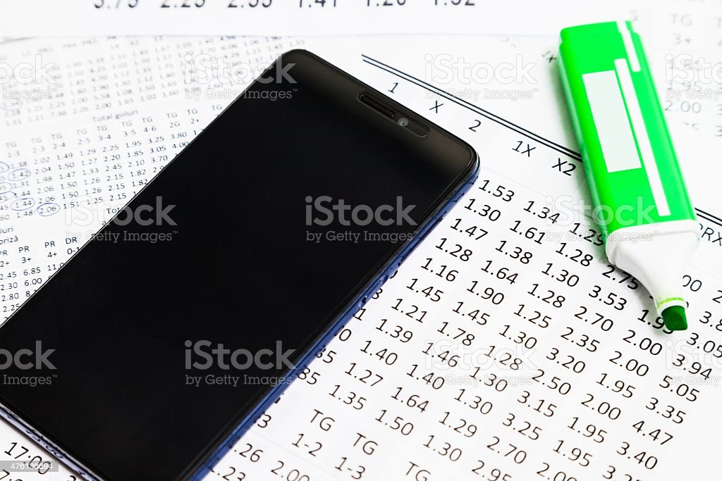 List of odds that can be betting with mobile phone stock photo