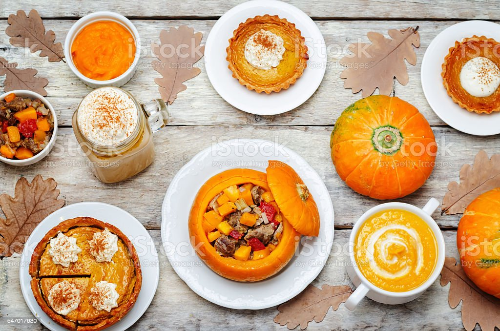 List of pumpkin dishes. stock photo