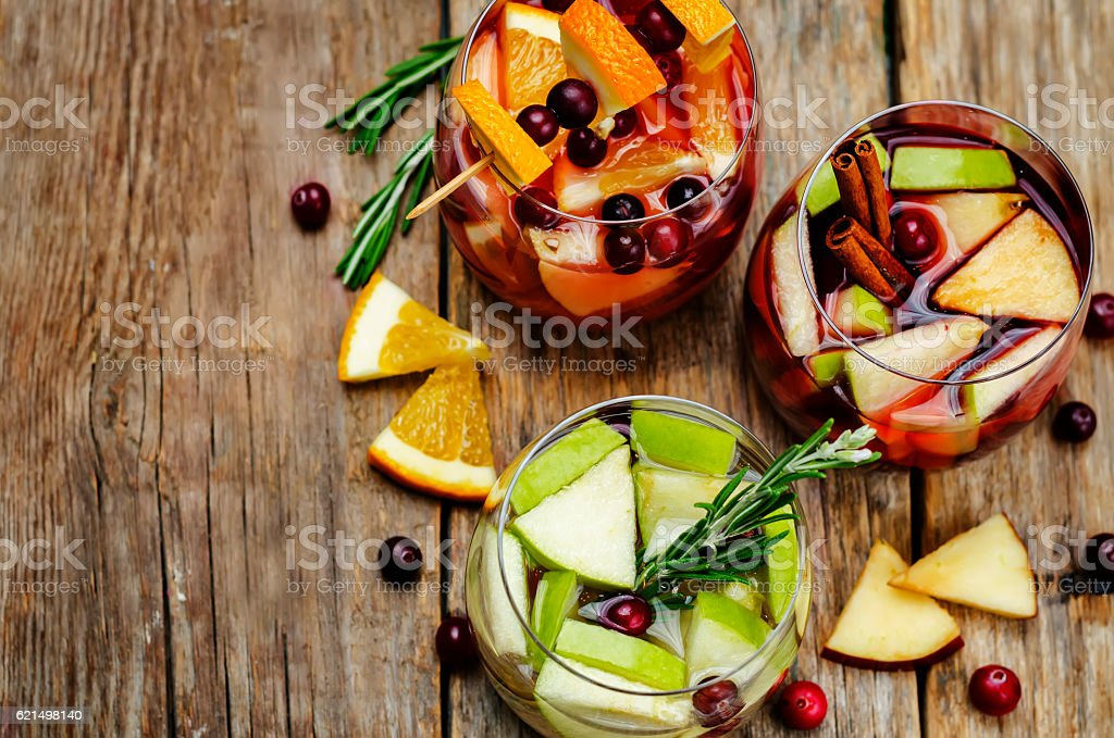List of sangria with red, pink and white wine foto stock royalty-free