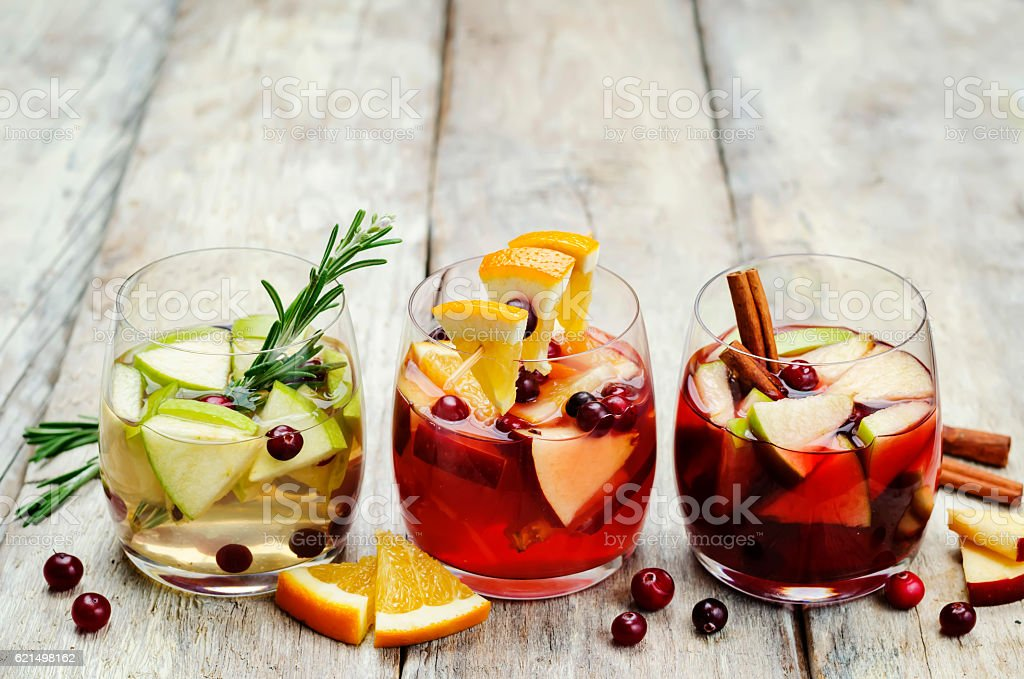 List of sangria with red, pink and white wine stock photo