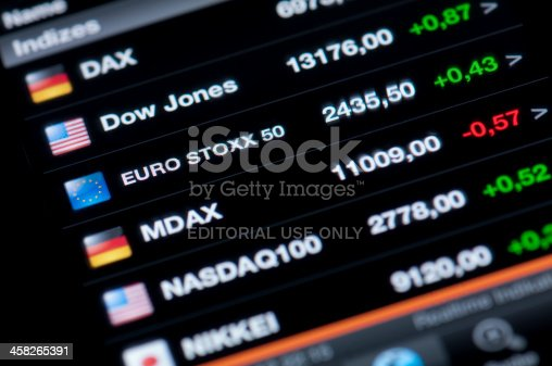 Muenster, Germany - August 25, 2012: List of stock market indices on a high resolution LCD screen presented on iPhone 4 Stocks application. A stock market index is a method of measuring the value of a section of the stock market.