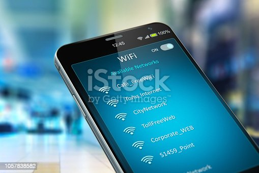istock List of WiFi networks on smartphone in the shopping mall 1057838582