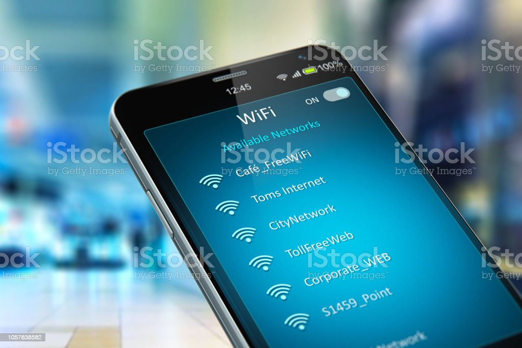 List of WiFi networks on smartphone in the shopping mall stock photo