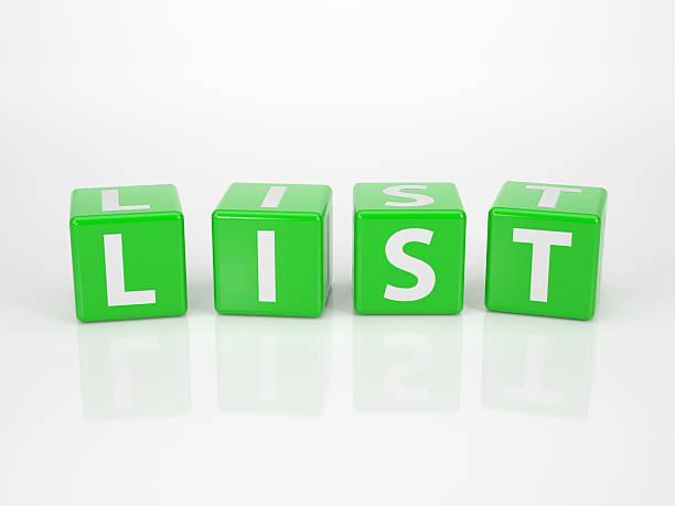 Liste von grünen Buchstabe Dices – Foto