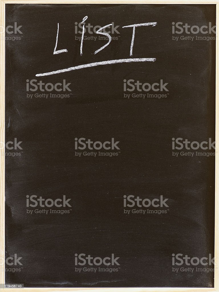 list royalty-free stock photo