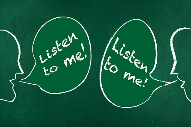 Listen to me Two people drawings shouting each other ' Listen to me! ' hands covering ears stock pictures, royalty-free photos & images