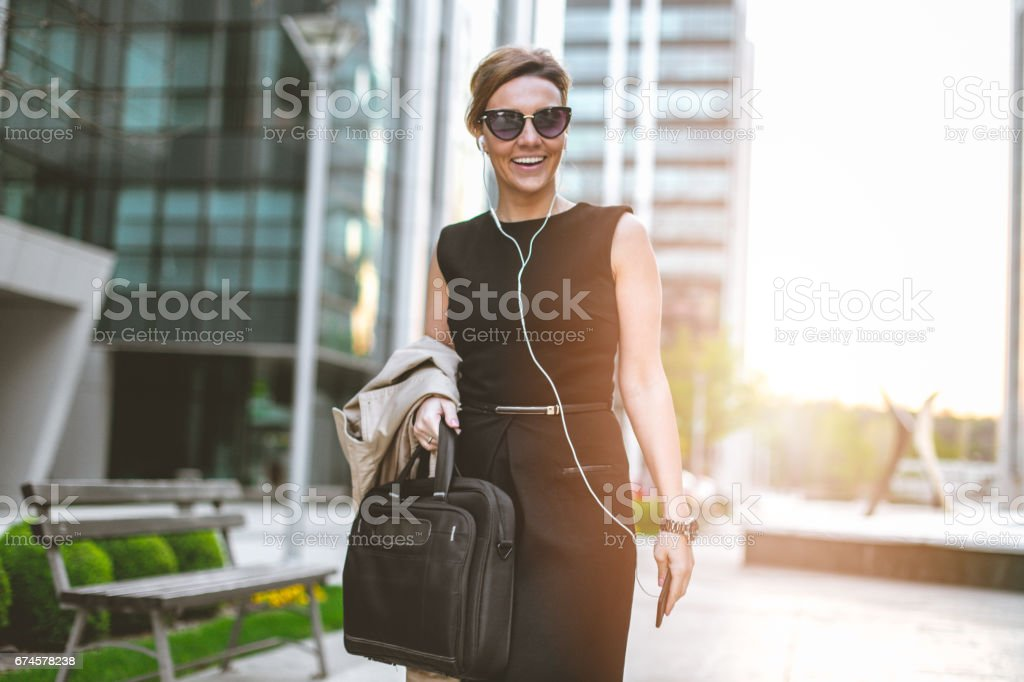 Listen to my favorite music after work stock photo