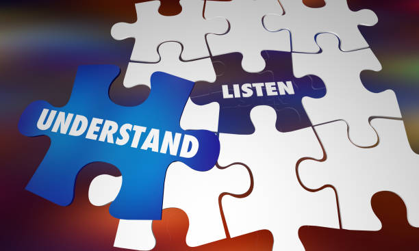 lyssna förstå lära sig kunskap pussel ord 3d illustration - listen bildbanksfoton och bilder
