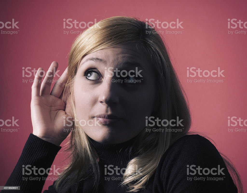 Listening carefully royalty-free stock photo