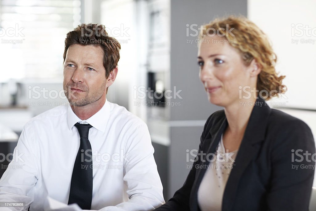 Listening during a meeting royalty-free stock photo